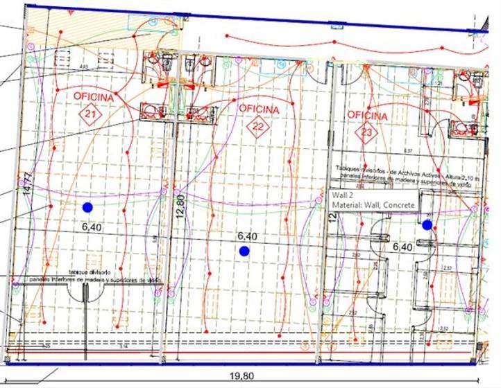 planta de oficina y espacio de trabajo site survey