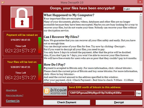 Wana Decrypt0r 2.0 uno de los ransomware más temidos. Así es cómo se ve su pantalla de bloqueo luego de que infecta un dispositivo.